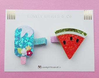 Fun Glitter Hair Bows - Watermelon, Pineapple, cupcake, Ice Lolly