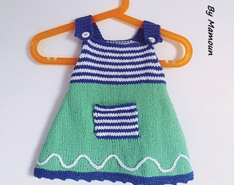 """(3-6 months) baby dress knitted in 100% cotton """"my little sailor"""""""