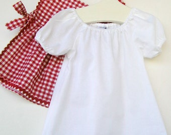Toddler Peasant Style White Dress with Short Puff Sleeves