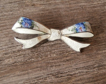 Vintage Antique 925 Silver Guilloche Enamel Flower Bow Pin or Brooch tone of Blue and white F.A. Hermann