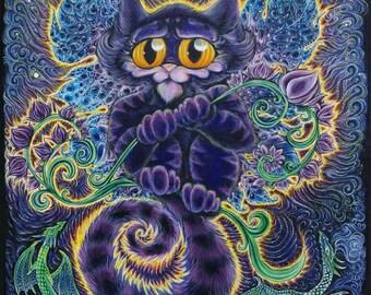 Cat Fairy Fantasy Art Print, signed, glicee, dragon, unicorn, cute