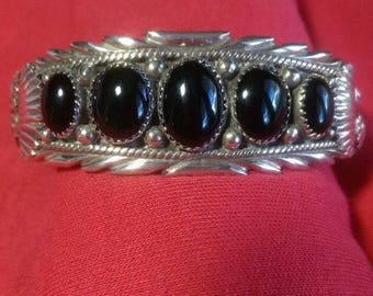 Navajo 5 Black Onyx Stone Sterling Silver Bracelet Collectible Signed Native American USA