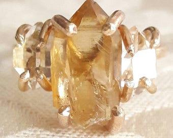 Natural Citrine and Herkimer Diamond Quartz Crystal Ring - Three Stone Ring - Yellow Gold Fill Ring - November Birthstone - Anniversary Gift