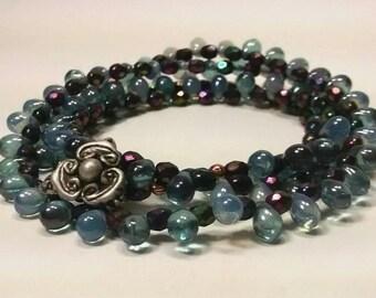 Opal Blue Denim Wrap Bracelet