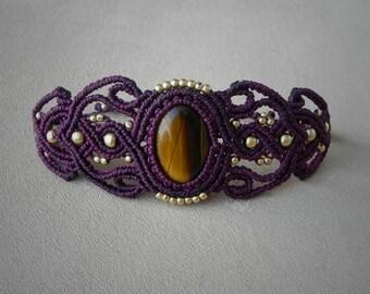 Macrame BOHO Bracelet. TIGER EYE gemstone. Spiritual Healing jewelry. Boho Hippie Chic Alternative Fashion.