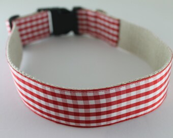 Red Gingham hemp dog collar