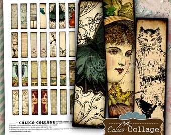 Eclectic Dreams Pairs - Instant Download Pritnable Digital Collage Sheet - .5x2 Inches Half Domino Matchstick Tile Size 318