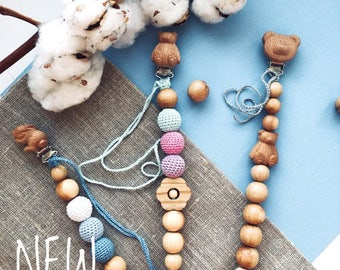 NEW Pacifier Clip Holder Pendant Teething Baby Shower Gift Wooden Toy Eco Friendly Bear Rabbit