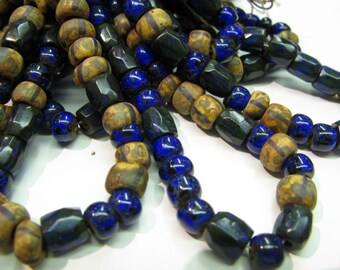 African Like Trade Seedbead, Size 1 Tribal/Ethnic Seedbead, Picasso Finish/Cobalt/Black Czech Seedbead, Old Style Trade Seedbead