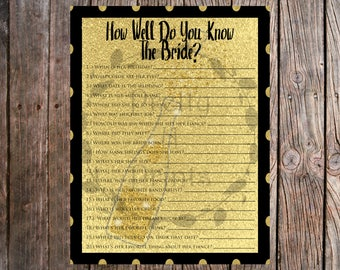How Well Do You Know The Bride? Bachelorette Party - Champagne Themed - Bridal Shower Decor - Instant Download - Print At Home - DIY - T0001