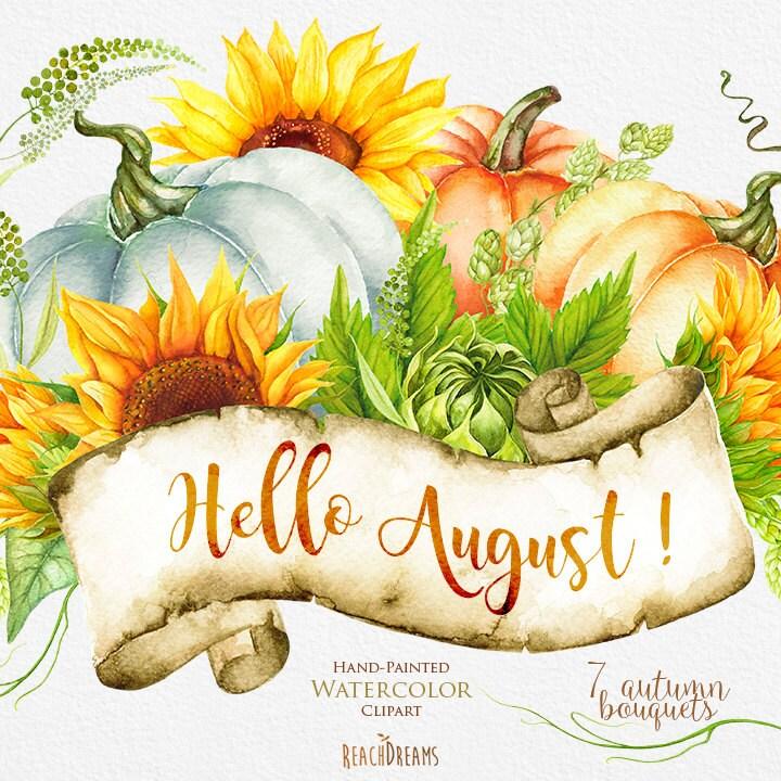 Pumpkin Sunflower Watercolor Clipart Golden Autumn