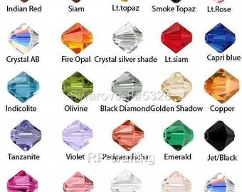 U Pick 24pcs x Authentic Swarovski Xilion Bicone Crystal Beads 4mm Bicone Beads #5328 Xilion #SWA-B4