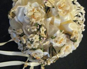 Romantic Hand Made Wedding Bridal Bouquet Vintage Tussie Mussie Beautiful Ribbon Crochet Variety of Silk Flowers