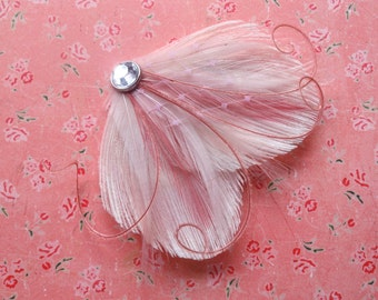 DREAM in Ivory, Light Pink, Dusty Rose, and Champagne Peacock Feather Hair Clip, Fascinator with Pink Veil