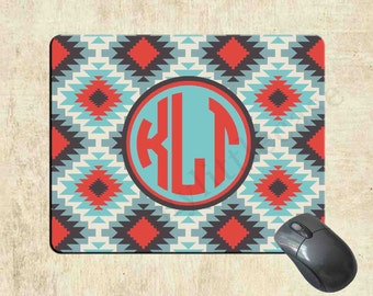 Monogrammed Mousepad - Tribal Aztec - Monogram Custom Mouse Pad - Personalized Mousepad