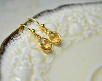 Citrine Earrings, Gemstone Earrings Citrine Jewelry, Pale Yellow Stone Earrings, November Birthstone Earrings, Small Gold Earrings, Mum Gift