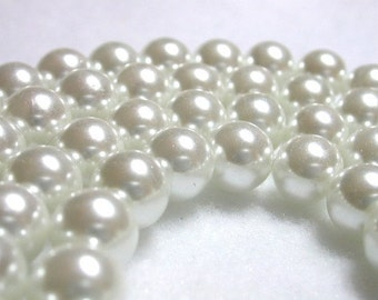 Stark White Pearls 10mm Glass Pearls White Round Glass Pearls Very Shimmery Pearl Rounds Snow White 10mm Pearl Rounds 40 Pearl Rounds