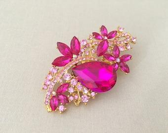 Hot Pink Rhinestone Brooch.Pink Rhinestone Brooch.Pink Gold Rhinestone Brooch.Pink Crystal Brooch.bridal accessory.Pink broach.Pin.Fuchsia