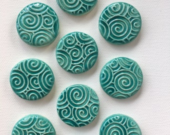 10 Handcrafted Seafoam Blue Green Round Tiles That Can Be Used In Mosaic And Other Mixed Media Projects