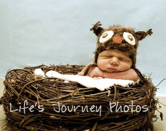 Baby Hat, Newborn Baby Hat, 3-6 mo, Newborn Photo prop, Knit Baby Hat, Owl Hat, Baby Photo Prop Little Owl Hat