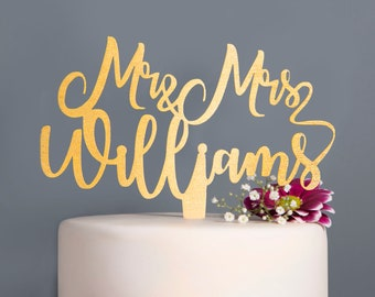 Personalised Wedding Cake Topper Mr and Mrs Wedding calligraphy Cake Topper personalised surname