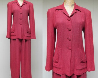 Vintage 1990s Retro Suit / 90s does 40s Raspberry Hourglass Hepburn Style Two-piece Pant Suit / Small