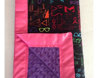 Science baby blanket, receiving blanket, minky baby blanket, swaddler, security blanket, science bedding, math blanket
