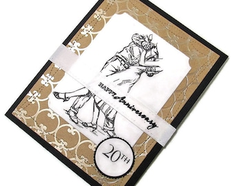 Handmade 20th Happy Anniversary Card With Hand Stamped Neutral Image Of Husband And Wife Dancing Over A Die Cut Golden Patterned Panel