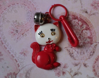 Vintage Bell charm red cat kitty with google eyes - Charm Bracelet - Necklace - Retro Keychain clip - Zipper Pull Kitsch Kawaii Mini 80s