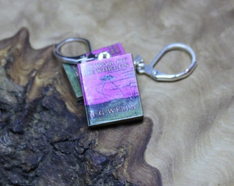 Miniature Book Earrings *With real pages!* H G Wells, War Of The Worlds. Hand made, Unique, Dolls House accessories.