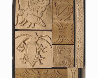Oshiwa Carved Wood Printing Stamp Set, Insect Designs, Item 32-41