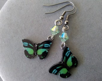 Black and Green Butterfly and Swarovski Crystal Earrings