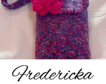 Pink/Purple Blends Felted Bagw/Pink Flower...............Designs by Fredericka