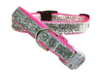 """Silver Bling Dog Collar 5/8"""", 3/4"""" or 1"""" Neon Pink Buckle or Martingale Style Dog Collar"""