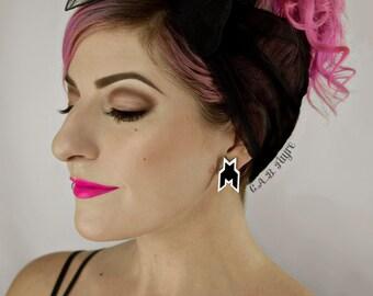 Houndstooth Invader Earrings / Stud Earrings/ Laser Cut Acrylic Post Earrings  (C.A.B. Fayre Original Design)