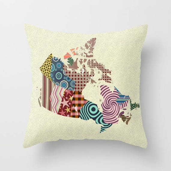 Canada Map Decorative Throw Pillow Cover, Canada Art, Cute Pillow, Pillow Case, Canadian Shop, Made in Canada