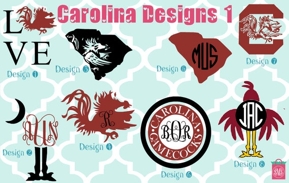 Usc gamecocks vinyl decals monogram decals monogrammed