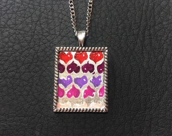 Graffiti Hearts Hand Painted Pendant Necklace