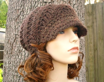 Knit Hat Brown Womens Hat Brown Newsboy Hat - Swirl Beanie with Visor in Wood Brown Knit Hat - Brown Hat Brown Beanie Womens Accessories