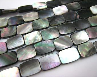 black lip shell flat rectangle bead 14x10mm 15.5 inch strand