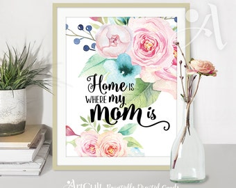 """Printable wall Art Instant digital Download """"Home is where my MOM is"""" quote, watercolor flowers artwork for home decoration ArtCult designs"""