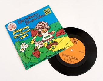 Vintage 1980s Childrens Book Record / Kid Stuff Strawberry Shortcake Adventures in Strawberry Land 33 RPM Record Book VGC