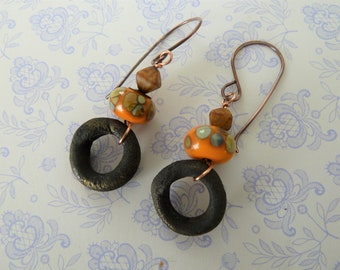 handmade lampwork and ceramic copper earrings, UK orange jewellery