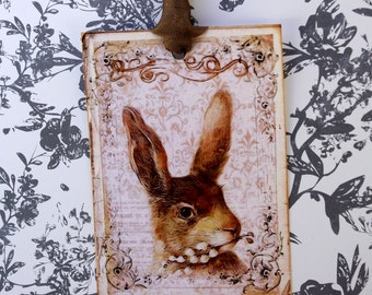 Vintage Easter Rabbit Gift Tags