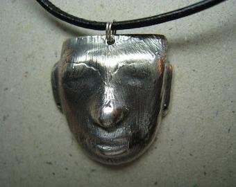 Rustic Mask Oxidized Fine Silver Pendant - Mask Pendant - Face Pendant - Archaeology