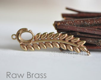 10pcs Raw Brass Long Leaf Connectors, Branch Charm Pendants with Prong Settings 40mm (RB-016)