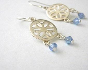 Sterling Silver Flower Circle Drop Earrings Chandelier Earrings with Blue Beads