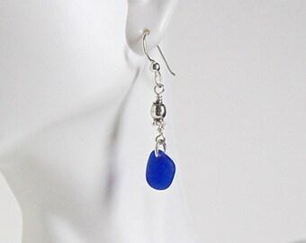 Sea glass earrings - blue sea glass jewelry - sterling silver earrings - ocean glass earrings - beach glass earrings - silver earrings