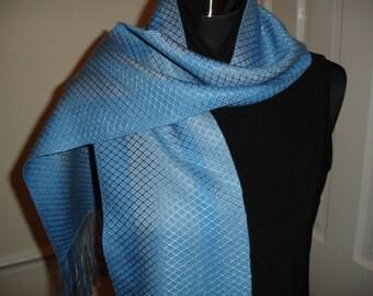 SALE, SALE, Hand woven Scarf, scarves, handwoven scarf, handwoven scarves, loom woven scarf, handmade scarf, Tencel scarves, blue scarves