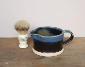 Black, Brass and Blue Wet Shaving Brush Soaker / Mug - UK